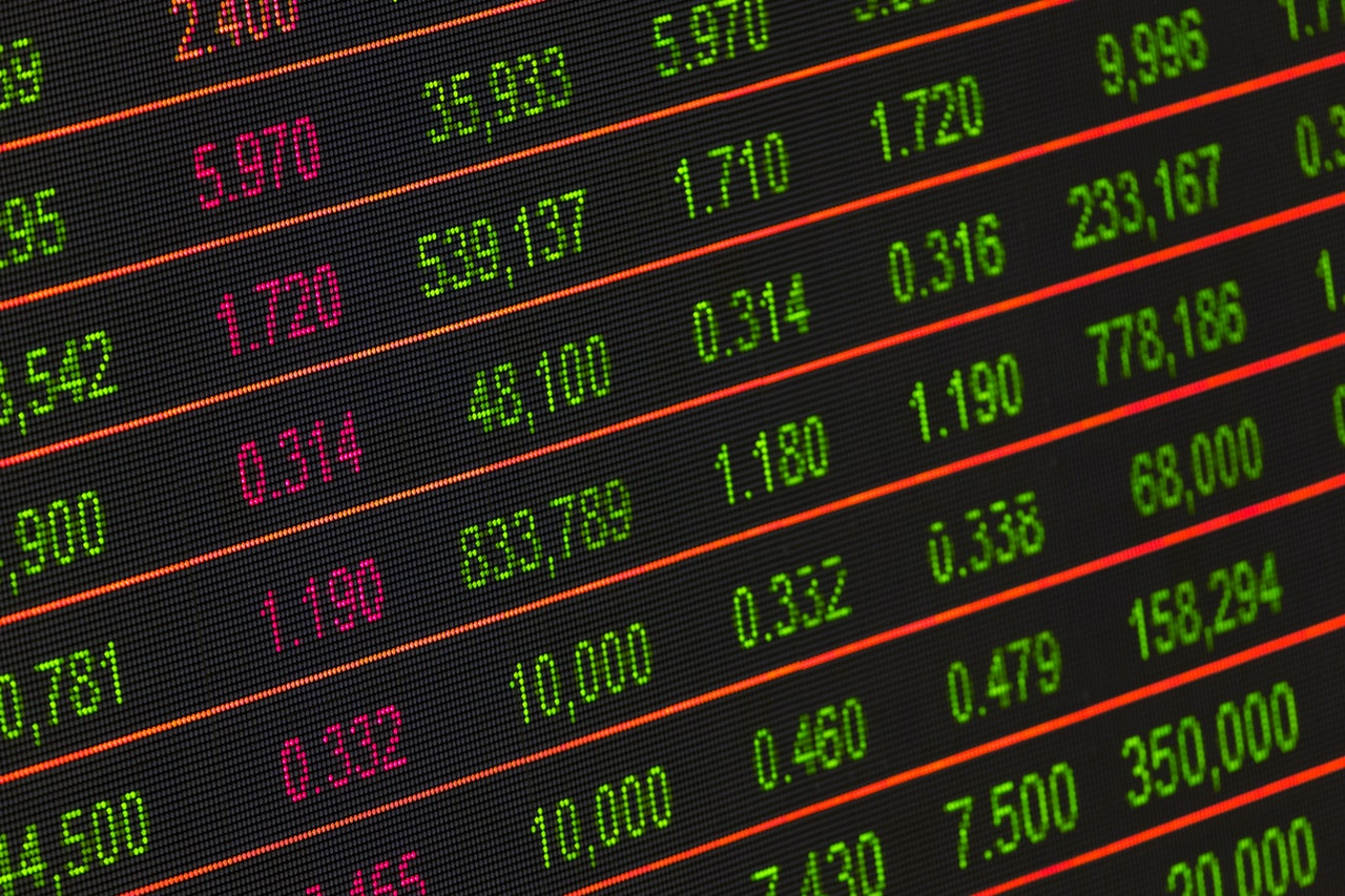Close up of stock market for financial service printers