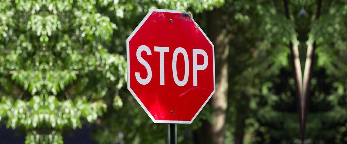 Close up of a stop sign warning printer toner levels