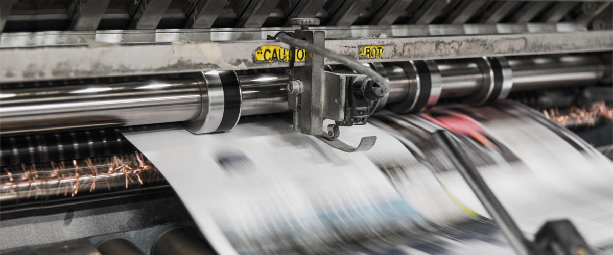 A high-powered printer in operation.