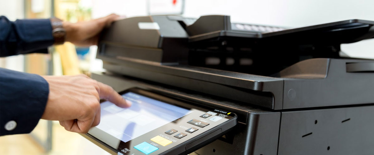 Close up of a multifunction office printer