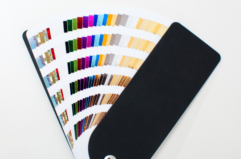 A swatch of the different colour foils for printing
