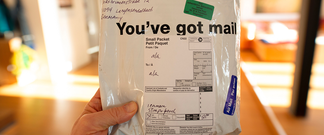 A package with a shipping label