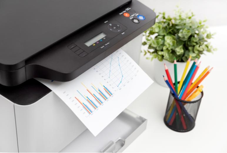 A printer printing high-quality charts and graphs