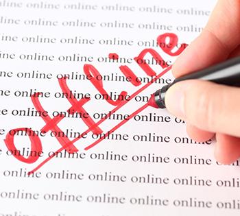 "The word ""offline"" written in red marker ink"