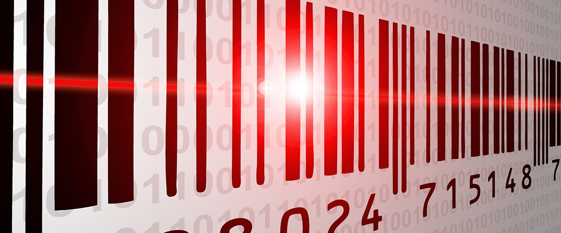 A barcode being scanned
