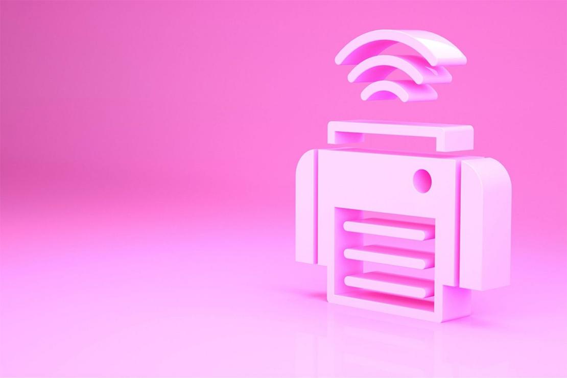 A pink printer icon