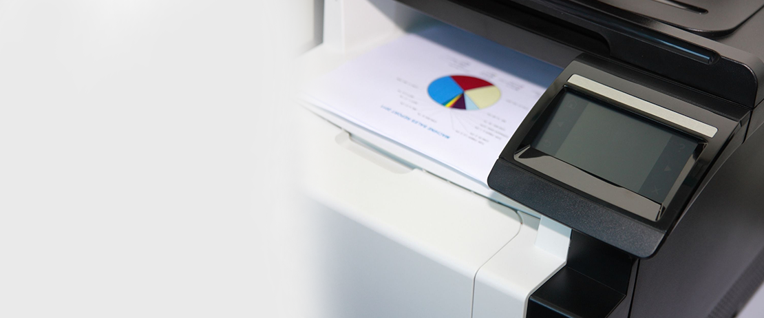 A multifunction printer printing out a pie chart